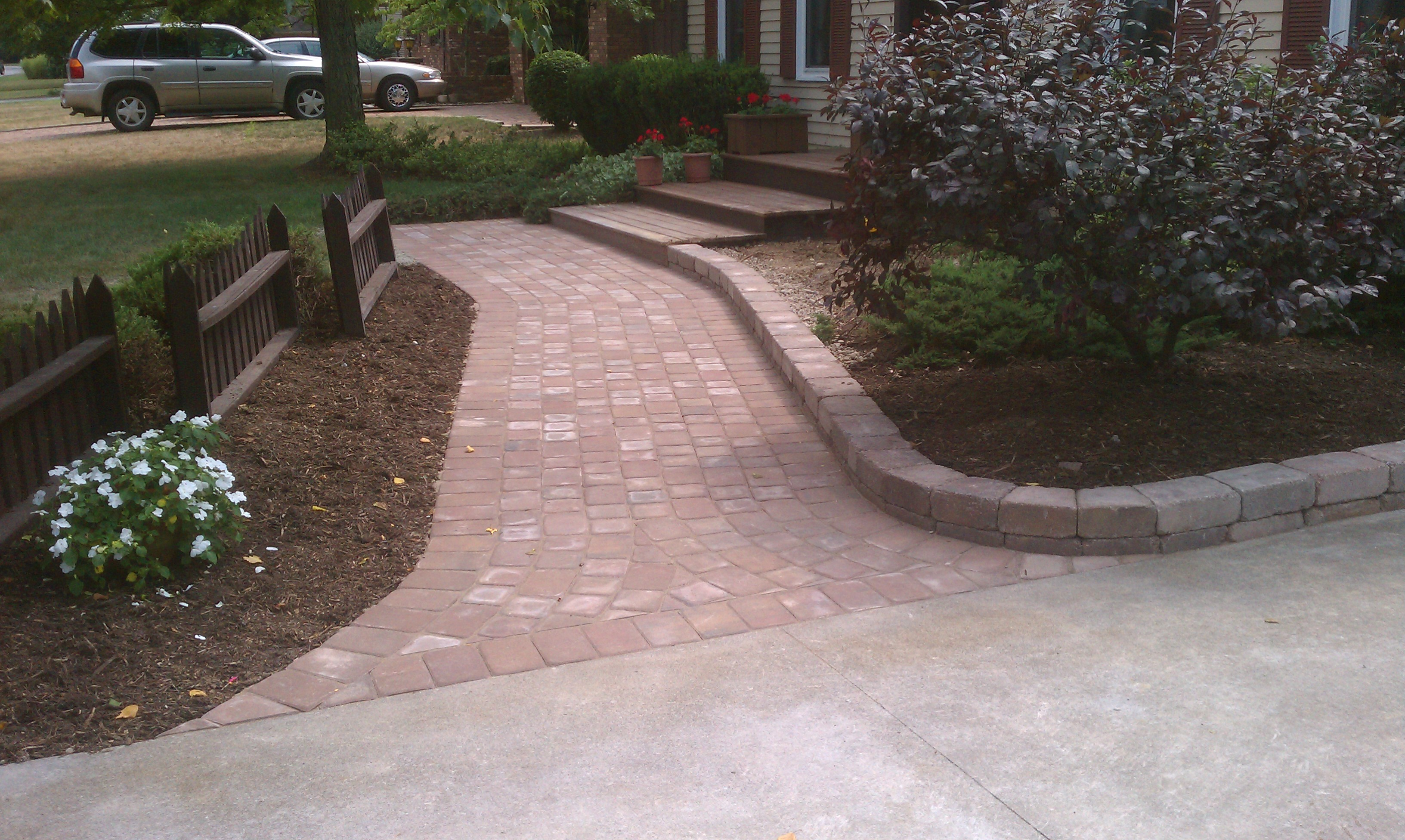 Brick Walkway Retaining Wall Installation